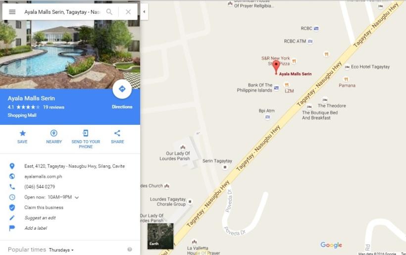 map Ayala Malls Serin