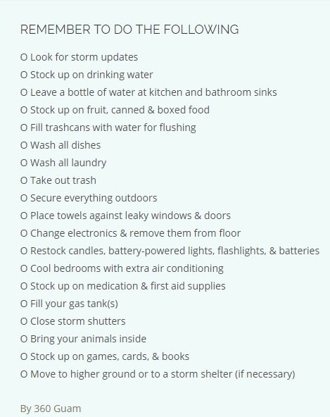 Typhoon Preparation Checklist