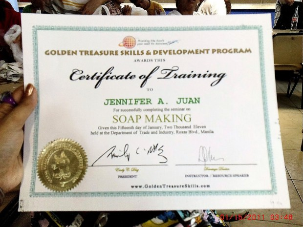 soap making certificate