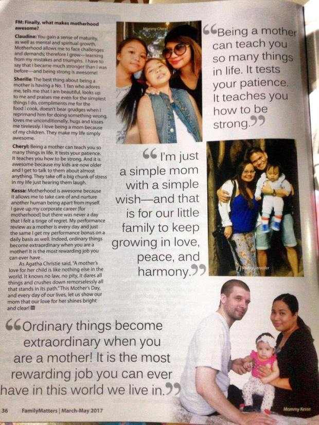 Family Matters magazine interview