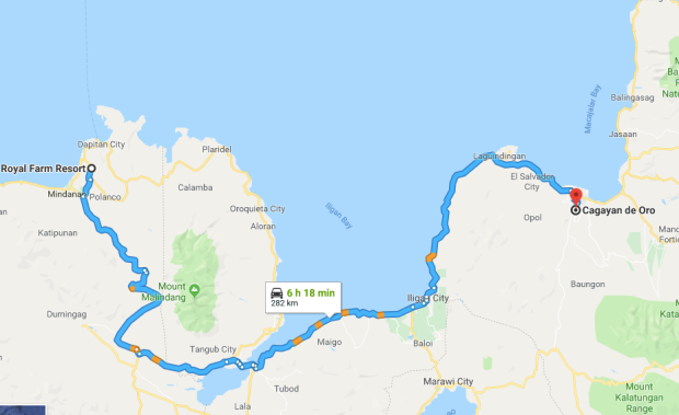 Cgayan de Oro to Dipolog map
