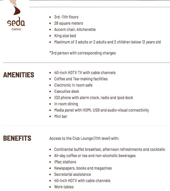 Seda Centrio Premier Room Details