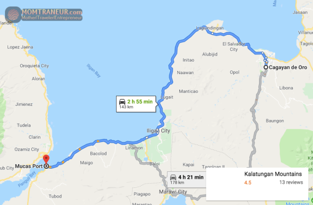 Cagayan de Oro to Mucas Map