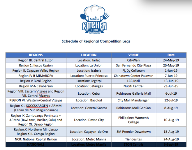 Solane Kitchen Hero schedule